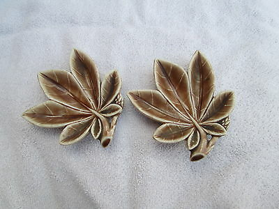 Wade ceramic two brown leaf dishes