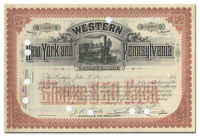 Western New York and Pennsylvania Railway Company Stock Certificate (1895)