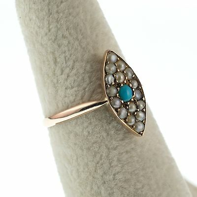 Antique Navette Ring With Turquoise & Pearls 9Ct Gold Victorian Period Jewellery