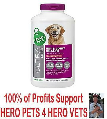 GNC Ultra Mega Hip & Joint for Senior Dogs 240 tablets Bacon Flavor Exp 2/18