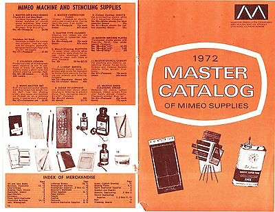 1972 Copy Of Master Catalog Of Mimeograph Supplies