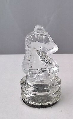 """Replacement Clear Glass Chess Piece - Knight  (approx height 2"""" / 5 cm)"""