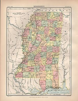 1880 ca ANTIQUE STATE MAP-USA-MISSISSIPPI