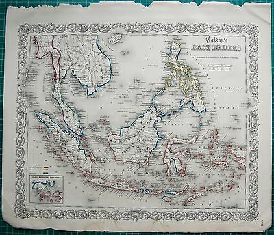 1855 Large Antique Map-Colton- East Indies Java, Sumatra,borneo
