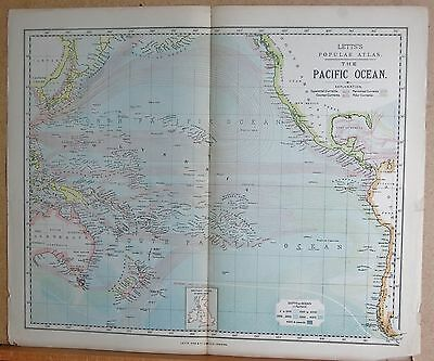 1883  Large Antique Map The Pacific Ocean Currents Depths
