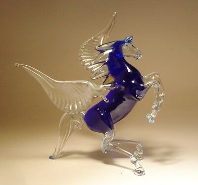 "Blown Glass ""Murano"" Art Figurine BLUE and Clear Rearing Horse PEGASUS"