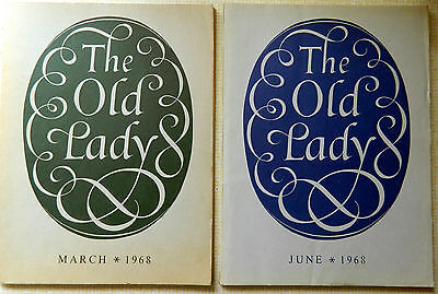 """BANK OF ENGLAND Staff Magazines x 2 """"The Old Lady"""" March and June 1968. VCG"""
