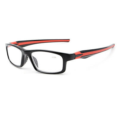 Black Fashion Sport's Style Reading Glasses Silicone Temple Reader +1.00~+4.00