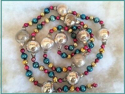 Antique Glass Feather Tree Xmas Garland Large Vintage Beads Multi Colors