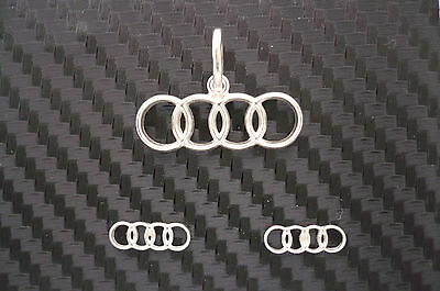 Audi marking, emblem silver jewelry set (1 pendant + a pair of earrings)