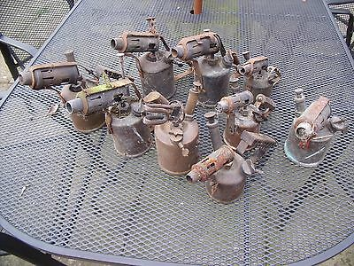Variety of Vintage Blow Lamps brass and steel Set of 9.