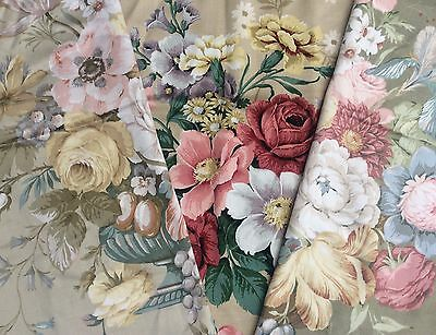 Vtg Sanderson Fabric 3x Pieces Of Floral Square Fabric Panels Crafting 45cm x 55