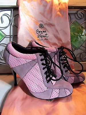Natural Spin Purple Suede Pink Lace Up Tango Dance Heels 4.5 / Comme Il Faut Bag