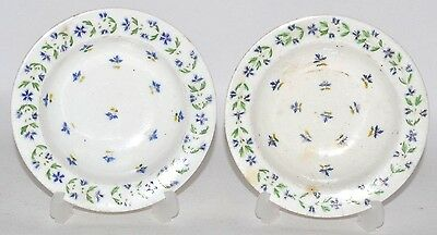 pair of derby 18th / 19th century porcelain plate dish decorated with leaves