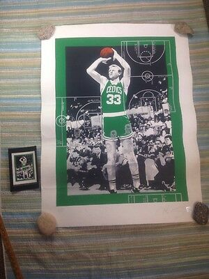 SIGNED LARRY BIRD James Anthony Screenprint Poster BOSTON CELTICS AUTHENTIC AUTO
