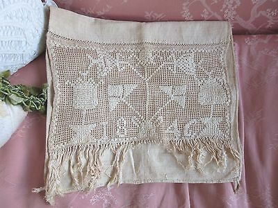 Antique 1846 Dated Home Spun Linen Show Towel Embroidered Lace