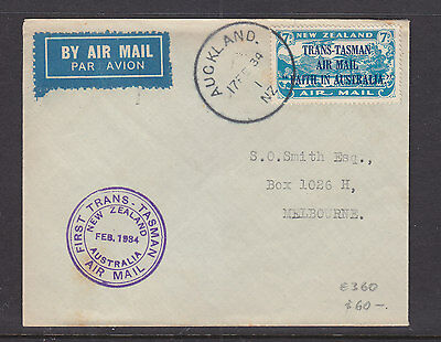 1934 New Zealand Flight Cover Trans-Tasman Air Mail Auckland To Melbourne