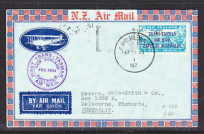 1934 New Zealand Flight Cover Trans-Tasman Air Mail Auckland To Melbourne Vic