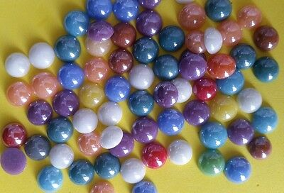 50 GLASS CABOCHONS 7-8mm Round ~ Flatbacked Pearlised Glass ~ Mixed Colours