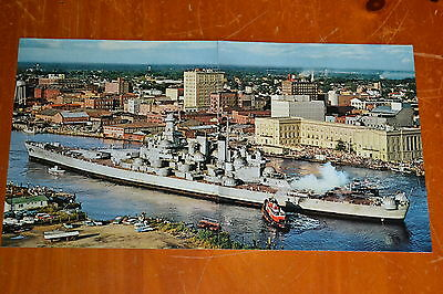 60s POSTER BATTLESHIP SS NORTH CAROLINA ON LAST VOYAGE IN WILMINGTON