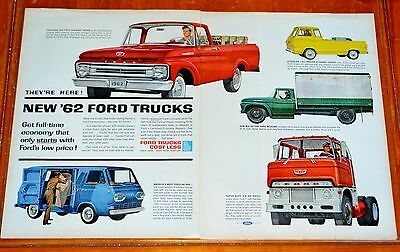 Large 1962 Ford Pickup Econoline & Cabover Coe Trucks Ad - Vintage American 60S