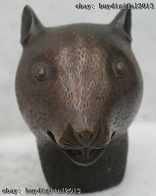 """5""""Chinese Fengshui Bronze Lucky Zodiac Year mouse head Statue sculpture"""