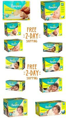 Pampers, Swaddlers Diapers, Newborn Size 1 2 3 4 5 6 - PICK ANY SIZE & QUANTITY