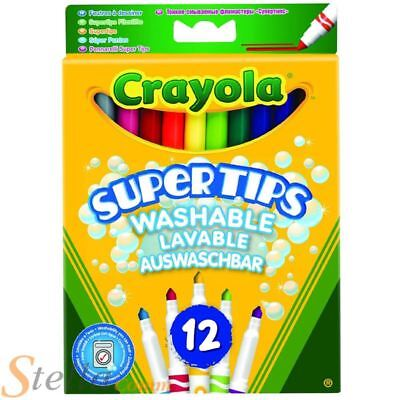 12 Crayola Bright Colour Supertips Pens Colouring Childrens Art Drawing