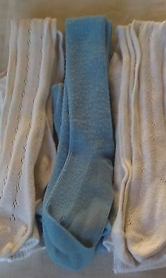 Good Condition- 3 Pairs Girls Knitted Tights-White and Blue -110 to 116 cm