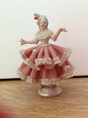 German Porcelain Dresden Lace Figurine Dancer Lady Figurine