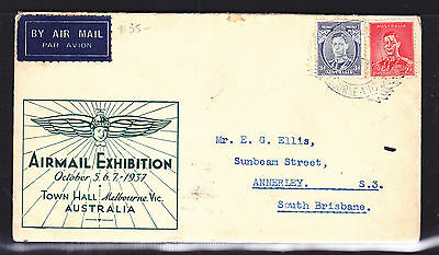 1937 Airmail Exhibition Flight Cover, Green Cachet Scarce!!!