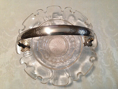 Antique Crystal Bowl / Dish With Sterling Silver Handle