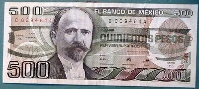 MEXICO 500  PESO NOTE , P 79 b,  issued 07.08. 1984