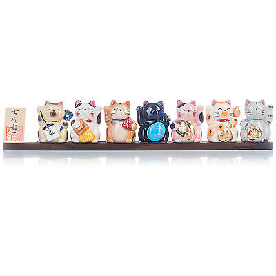 Seven Ceramic Japanese Lucky Cats