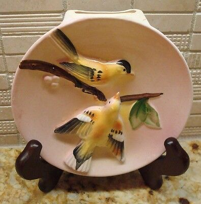 Ceramic Pink with Yellow Bird Motif Wall Pocket - Sonsco - Excellent Condition!!