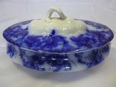 Antique W & E Corn, blue Footed Oval Tureen + Lid AYR Pattern? 1900-1904