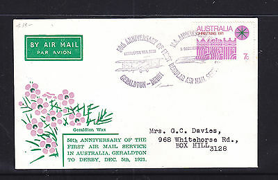 1971 50Th Anniversary Of Air Mail Service Geraldton To Derby.