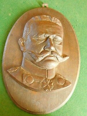Rare Large And Heavy Cast Iron Mounted Plaque Of Hindenburg