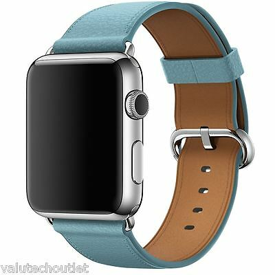 Genuine APPLE MMGR2ZM/A 42mm Classic Leather Buckle - Watch strap - jay blue