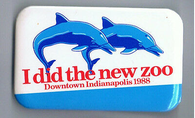 1988 New Indianapolis Zoo Advertising Pinback Button Dolphin White River Park Ad