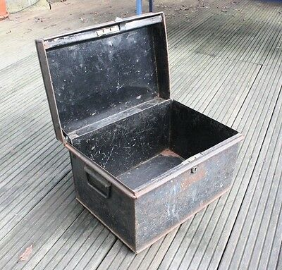 Antique Black Metal Deed Box Storage Chest Hobby Craft Trunk Vintage Old