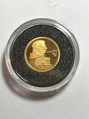 Finest Gold Miniature Mozart 250th Anniv 24ct Gold Coin COA Proof 2006 Mongolia