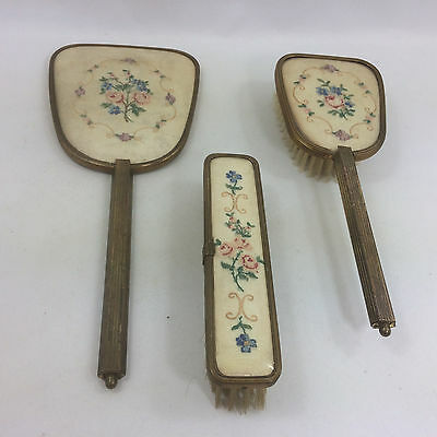 Vintage 2 Brushes & Mirror Vanity 3 Pc Set Petit Point Embroidery