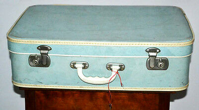 Vintage 1950's Turquoise Suitcase Trunk - FREE Shipping [PL3031]