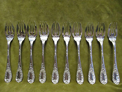 antique french silver (minerve 950) 10 fish forks Puiforcat french rococo st