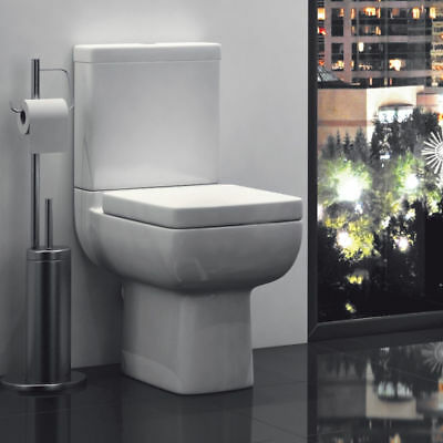 Options 600 Toilet Bathroom Pan Modern Square Close Coupled Soft Close Seat WC