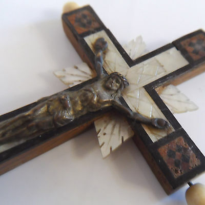 VINTAGE MOTHER of PEARL INLAY WOODEN CROSS/CRUCIFIX
