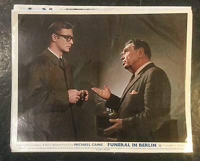Complete Set of Eight Lobby Cards for Funeral in Berlin, Caine