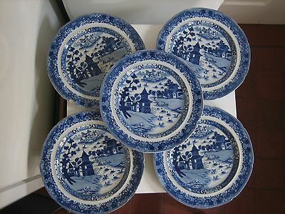 Five Vintage Chinese-Design Blue & White Dinner Plates