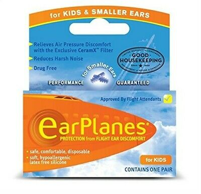 Earplanes Children's Ear Plugs, Disposable - 1 Pair (Pack Of 3)